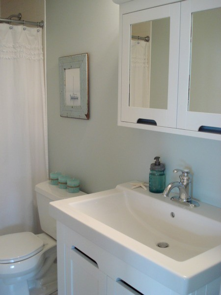 HOUSE*TWEAKING Sherwin Williams Rainwashed Bathroom on sherwin williams comfort gray bathroom, beadboard bathroom, sherwin-williams oyster bay bathroom, sherwin-williams waterscape bathroom,