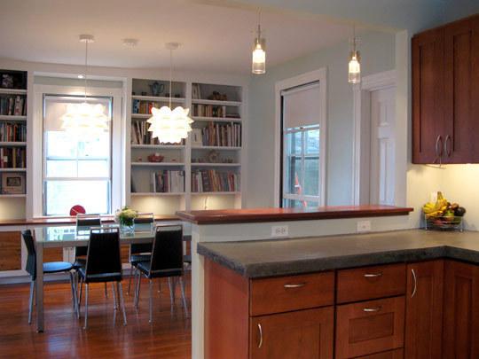 Sea Salt Kitchen With Oak Cabinets