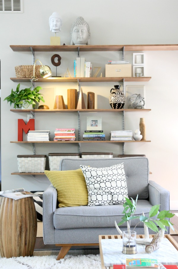 A light for the living room shelves house tweaking bloglovin for Bookshelves ideas living rooms