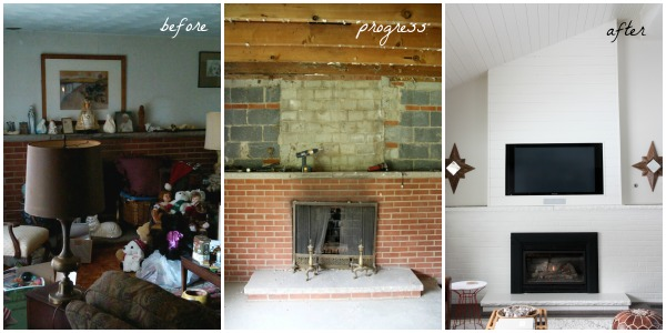 fireplace wall collage