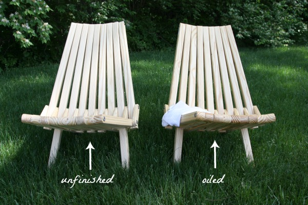 unfinished vs oiled slat chair