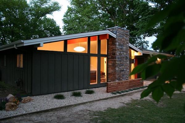 midcentury modern dark exterior