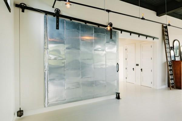 metal sliding partition in open loft