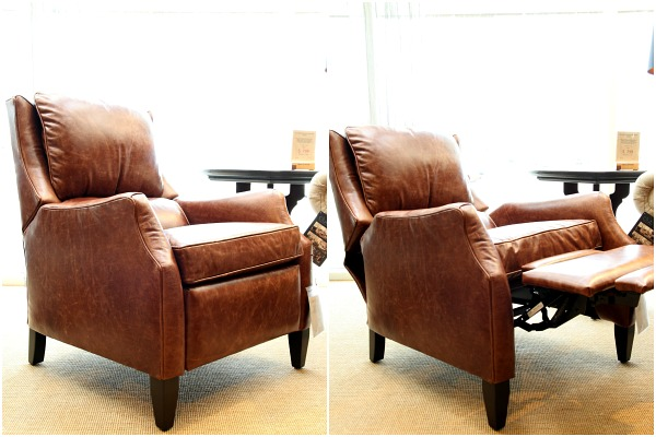 arhaus alex leather sandalwood recliner