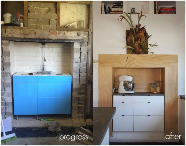 plywood ikea kitchen fireplace