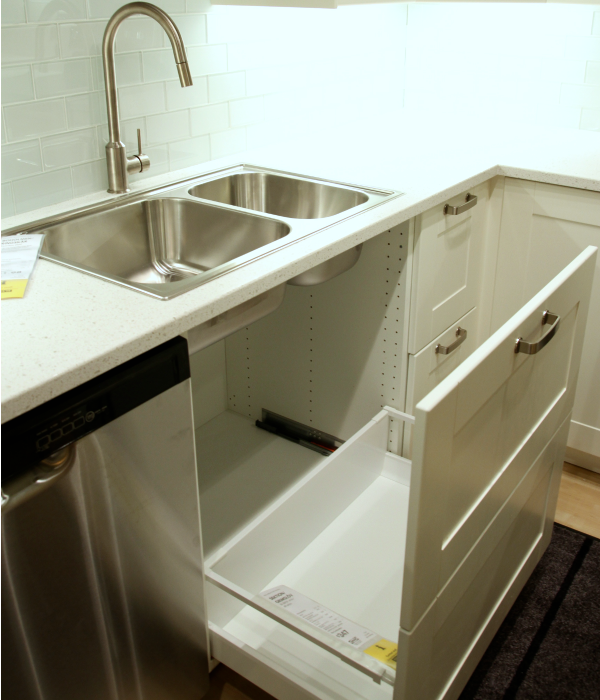 One New Option I Didn T Like Was This Undersink Pullout It S Made To Look Two Drawers From The Front But Felt Flimsy Because Panel Is So