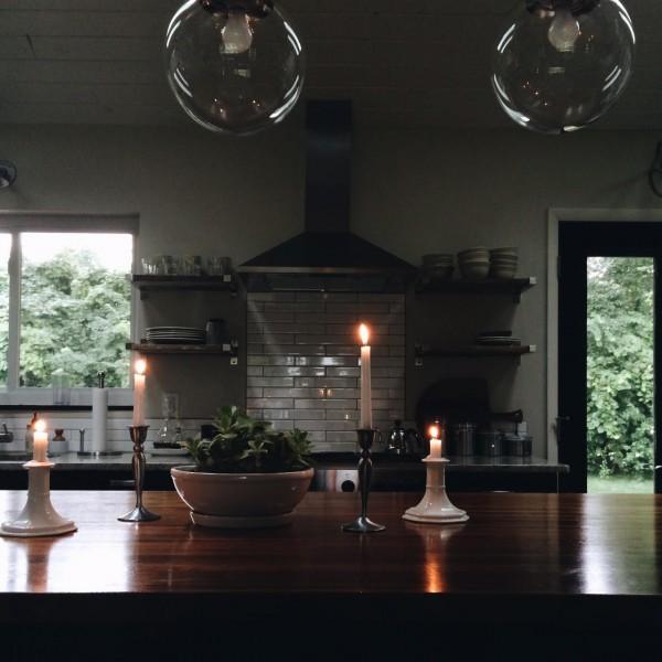 candlelit kitchen